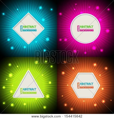 Abstract bursting colorful background designs with text container