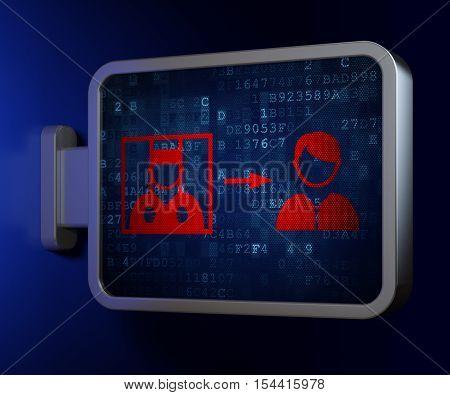 Law concept: Criminal Freed on advertising billboard background, 3D rendering