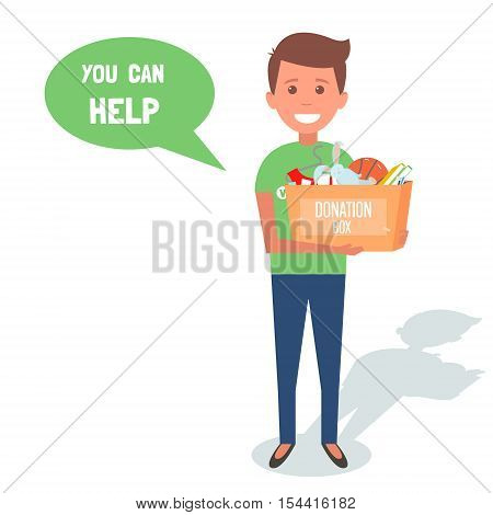 Man Volunteers with donation boxes isolated on white. Vector Illustration