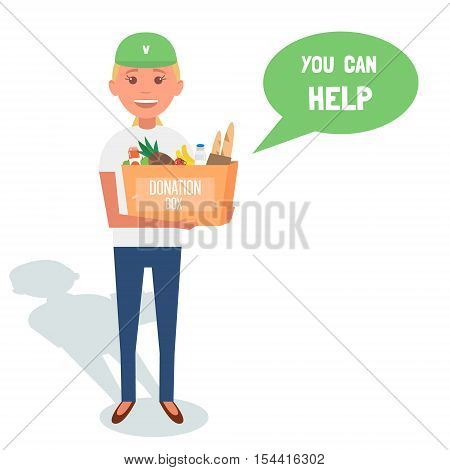 Woman Volunteers with donation boxes isolated on white. Vector Illustration
