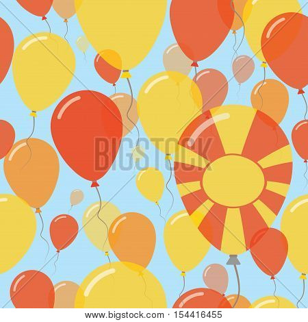 Macedonia, The Former Yugoslav Republic Of National Day Flat Seamless Pattern. Flying Celebration Ba