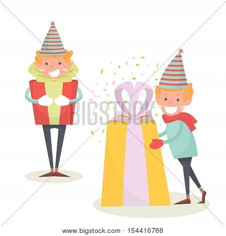 Christmas Elf keeps big gift. Christmas illustration of a cute smiling elf isolated on white.Holiday character