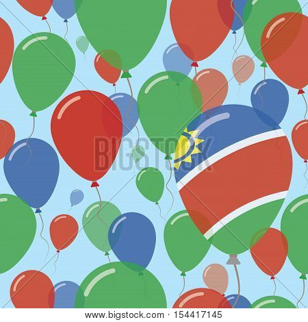 Namibia National Day Flat Seamless Pattern. Flying Celebration Balloons In Colors Of Namibian Flag.