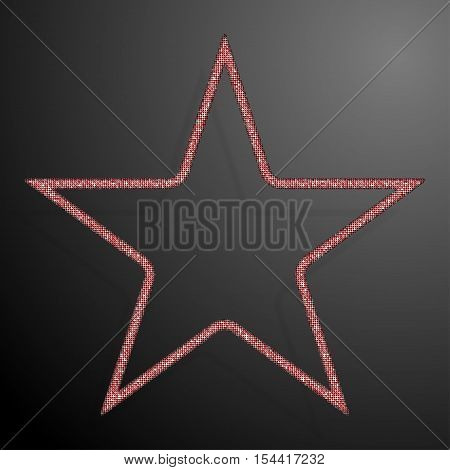 Frame made of Red sequins in the form star. Mosaic sequins glitter sparkle stars.