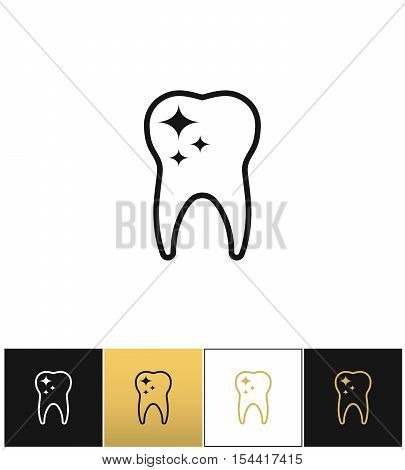 Tooth care and dental cleaning vector icon. Tooth care and dental cleaning program on black, white and gold background