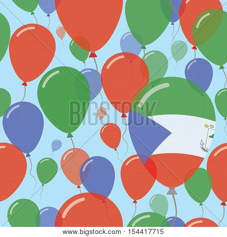 Equatorial Guinea National Day Flat Seamless Pattern. Flying Celebration Balloons In Colors Of Equat