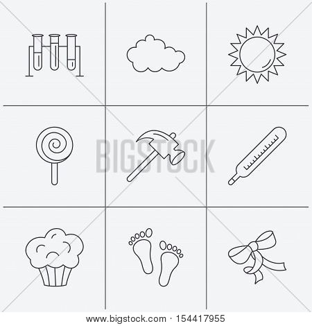 Footprint, lab bulbs and thermometer icons. Muffin, bow and lolly pop linear signs. Cloud and sun flat line icons. Linear icons on white background. Vector