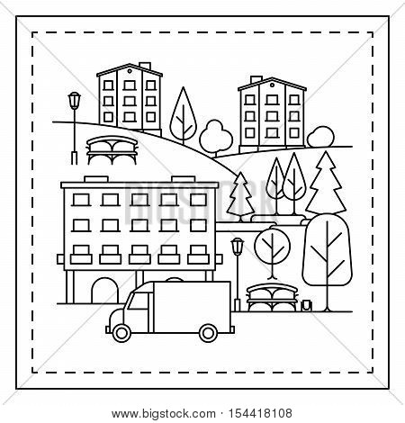 Coloring page for kids with city landscape, houses, truck and trees. Vector illustration