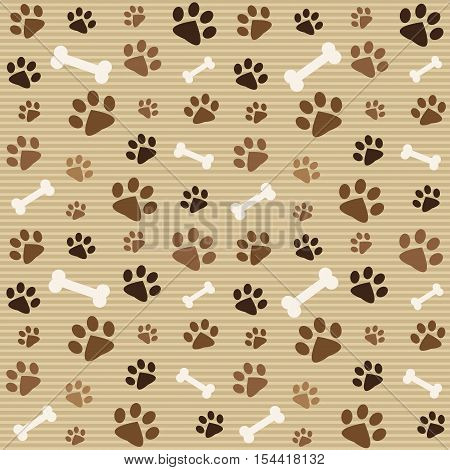 Background with brown dog footprints and bones