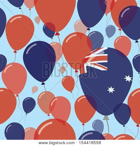 Heard And Mcdonald Islands National Day Flat Seamless Pattern. Flying Celebration Balloons In Colors