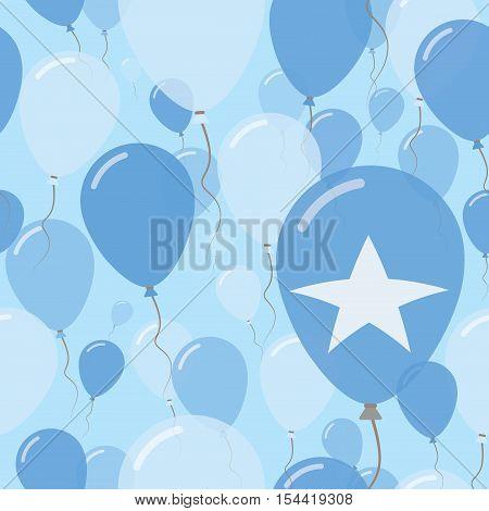 Somalia National Day Flat Seamless Pattern. Flying Celebration Balloons In Colors Of Somali Flag. Ha