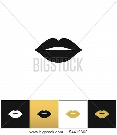 Female lips kiss print vector icon. Female lips kiss print pictograph on black, white and gold backgrounds