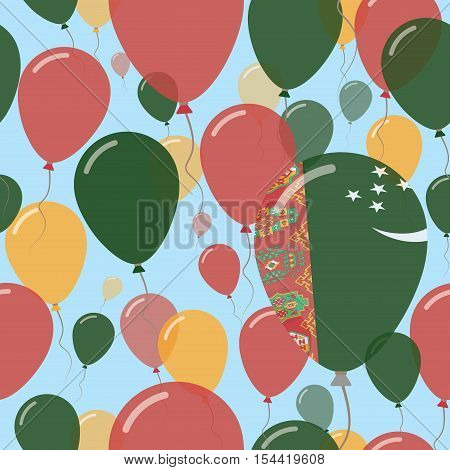 Turkmenistan National Day Flat Seamless Pattern. Flying Celebration Balloons In Colors Of Turkmen Fl