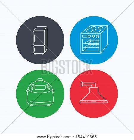 Refrigerator, multicooker and oven icons. Kitchen hood linear sign. Linear icons on colored buttons. Flat web symbols. Vector
