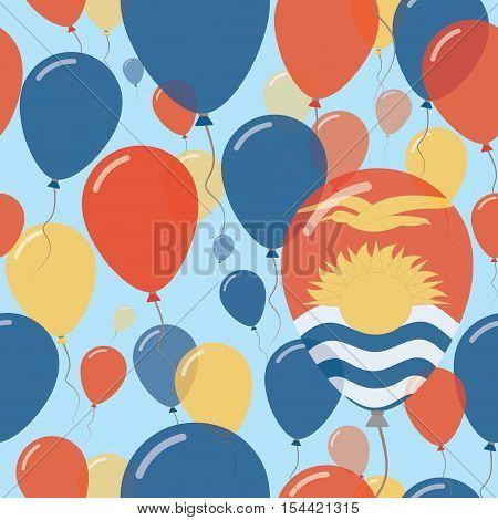 Kiribati National Day Flat Seamless Pattern. Flying Celebration Balloons In Colors Of I-kiribati Fla