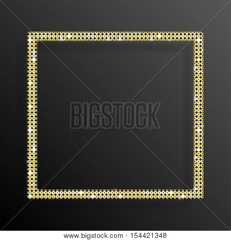 Frame made of Gold sequins in the form square. Mosaic sequins glitter sparkle stars.