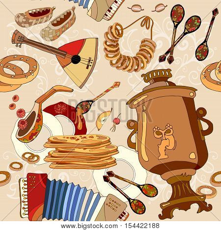 Russian cuisine seamless pattern pancakes samovar balalaika. Russian culture and traditions background