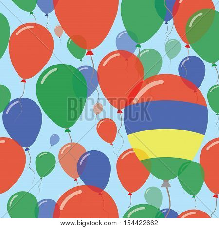 Mauritius National Day Flat Seamless Pattern. Flying Celebration Balloons In Colors Of Mauritian Fla