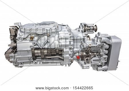 Modern heavy duty automatic transmission of a truck or bus isolated over white background
