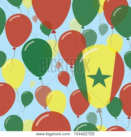Senegal National Day Flat Seamless Pattern. Flying Celebration Balloons In Colors Of Senegalese Flag