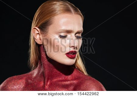 Fashion portrait of model with body art. Close up. Unusual art