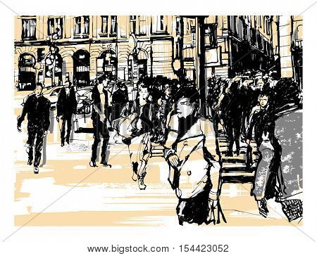 France, Paris Gare St-Lazare - vector illustration