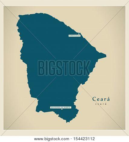 Modern Map - Ceara BR Brazil illustration vector