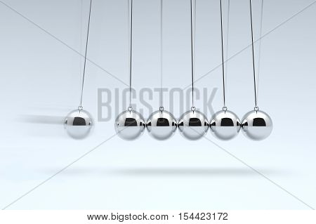 Newton's Cradle, Balancing balls Newton's cradle. 3D illustration