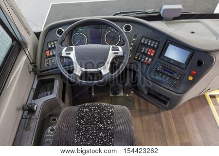 Interior and the dashboard of a modern truck