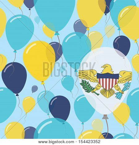 Virgin Islands, U.s. National Day Flat Seamless Pattern. Flying Celebration Balloons In Colors Of Vi