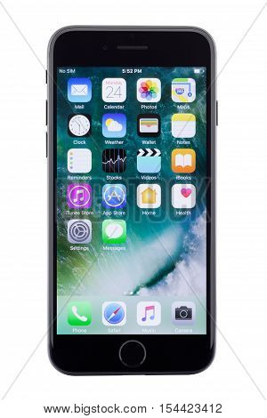 Bangkok Thailand - November 1 2016: iPhone 7 screen showing application on white background new iPhone 7 is manufactured by apple inc.
