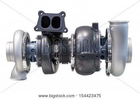 Automotive twinturbo supercharger from a truck isolated over white background