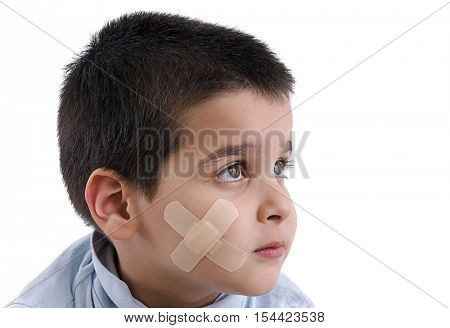 Adhesive Bandage Applied to Child Isolated