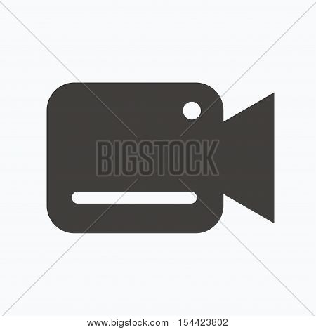 Video camera icon. Film recording cam symbol. Security monitoring. Gray flat web icon on white background. Vector