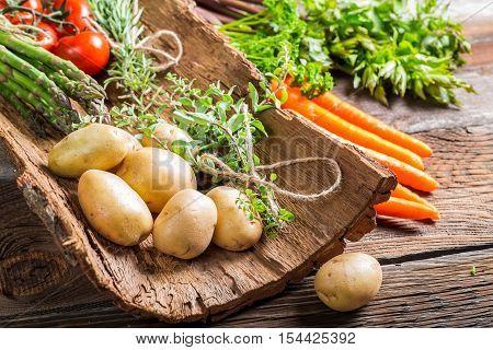 Various fresh vegetables on bark on wooden table