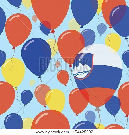 Slovenia National Day Flat Seamless Pattern. Flying Celebration Balloons In Colors Of Slovene Flag.
