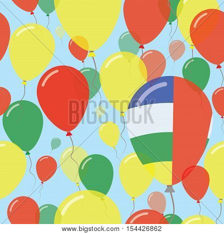 Central African Republic National Day Flat Seamless Pattern. Flying Celebration Balloons In Colors O