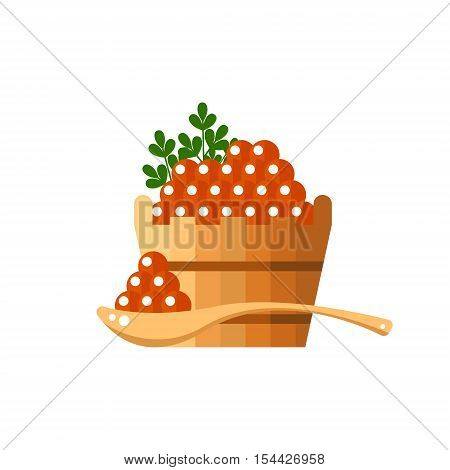 Red caviar in a wooden barrel and spoon. Roe icon vector illustration. Russian traditional snack. Caviare menu for restaurant
