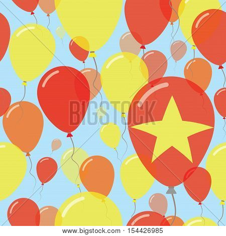 Vietnam National Day Flat Seamless Pattern. Flying Celebration Balloons In Colors Of Vietnamese Flag