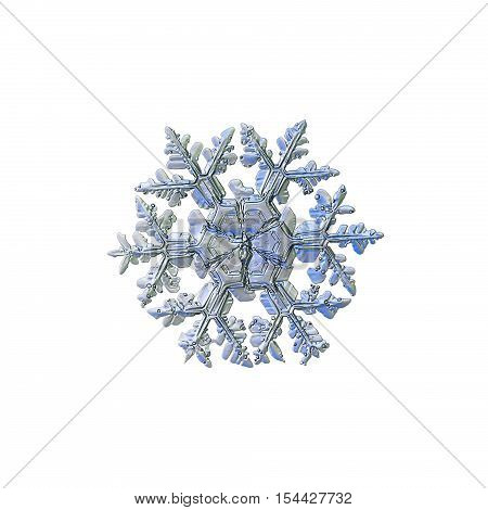 Snowflake isolated on white background. This is macro photo of real snow crystal: large stellar dendrite with complex arms, massive sectored center and frozen bubbles of rime on surface.