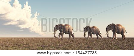 Computer generated 3D illustration with three elephants