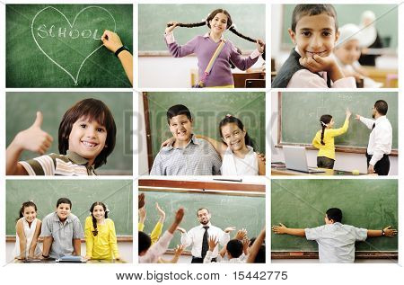 School concept, children and teacher, success in classroom - collage. Education process. Loving learning.