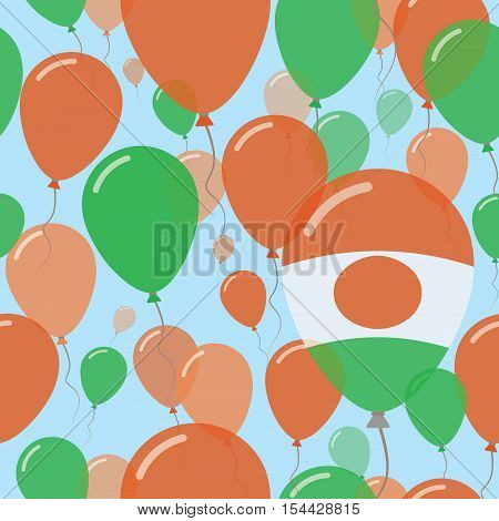 Niger National Day Flat Seamless Pattern. Flying Celebration Balloons In Colors Of Nigerian Flag. Ha