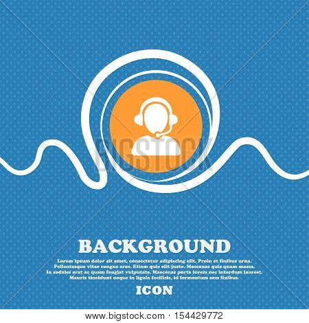Customer Support Icon Sign. Blue And White Abstract Background Flecked With Space For Text And Your