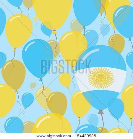 Argentina National Day Flat Seamless Pattern. Flying Celebration Balloons In Colors Of Argentinean F