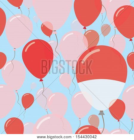 Monaco National Day Flat Seamless Pattern. Flying Celebration Balloons In Colors Of Monegasque Flag.