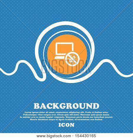 Bug Find Icon Sign. Blue And White Abstract Background Flecked With Space For Text And Your Design.