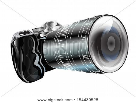 Camera black color isolate on white background and cliping paths graphic design for icon symbol illustration two dimension shiny objects.