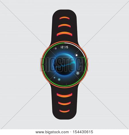 Black smart watch logo with cosmic decor. Smart watch vector illustration. Isolated smart watch sign. Smart watch vector icon.