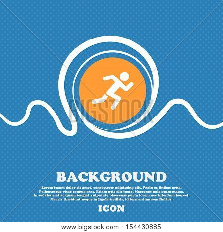 Simple Running Human Icon Sign. Blue And White Abstract Background Flecked With Space For Text And Y